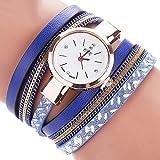 LSAltd Damen Art und Weisediamant-Verpackung Um Uhr Lederoid Quarz Armbanduhr (Blau 3)