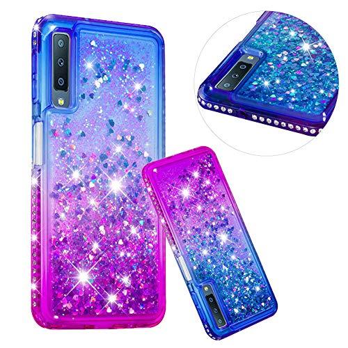 Kristall Transparent Hülle für Samsung Galaxy A7 2018,CESTOR Luxus Diamond Edge Flüssig Treibsand Ultra Dünn Weich Silikon TPU Bling Glänzend Dauerhaft Schutzhülle für Samsung A7 2018,Blau + Lila