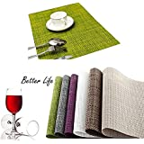 HAMENG Placemats [4PCS] Insulation Non-slip PVC Weave Placemats, Adiabatic Placemats Washable Table Mats?[Energy Class A+++]-GREEN