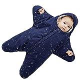 Baby Schlafsack Ganzjährig 0-8 Monate Personalisierte Entwurf Sternform Reißverschluss Frontseite Blau