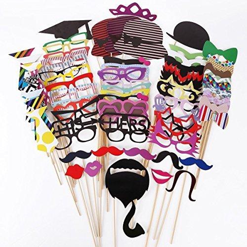 arty Foto Verkleidung Schnurrbart Lippen Brille Krawatte Hüten Photo Booth Props Hochzeit Partymitbringsel Zubehör Set (Photo Booth Props Hochzeit)