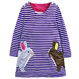 Baby Mädchen Prinzessin Kleid Cartoon Tiere Lange Ärmel/Kurzarm T-Shirt Jerseykleid mit Streifen Crewneck Kleid (6 Jahre, Blau-Kaninchen)