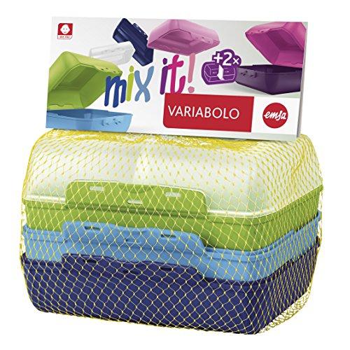Emsa 517053 Variabolo 4-teiliges Frischhaltedosen Boys-Set, 16 x 11 x 7 cm, beidseitig zu öffnen, platzsparend ineinander stapelbar, blau/grün