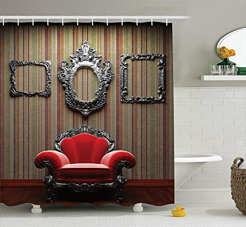 BUZRL Antique Decor Collection, Wall and Chair Vintage Picture Frame Vertical Striped Background Timber Floor Image, Polyester Fabric Bathroom Shower Curtain Set, 72x72 inches, Red Silver Grey
