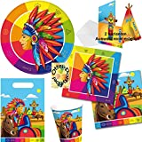 Indianer Partyset Geburtstag 52 Teile Teller + Becher + Servietten + Karten + Tüten