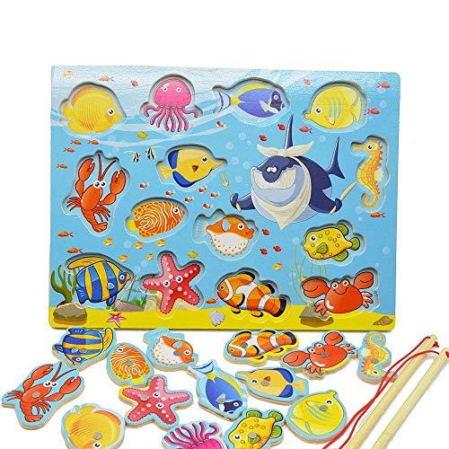 Lewo Magnetisches Holzpuzzles Angeln Spielzeug für 3 4 5 Jährige Kind Baby Kleinkind Jungen Mädchen Magnet Spielzeug mit 14Fischen und 2 Magnetpol
