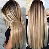 """27"""" Women Platinum Blonde Full Wig Long Flaxen Hair Wig Ladies Curly Fashion Wigs Ombre Cosplay Dark Root Middle Bangs Part C"""
