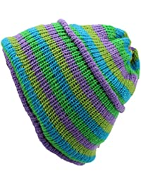 WOOL KNIT BEANIE HAT FLEECE LINED LILAC GREEN BLUE STRIPES