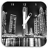 Monocrome, Dubai Burj al Arab, Wanduhr Durchmesser 28cm mit weißen eckigen Zeigern und Ziffernblatt, Dekoartikel, Designuhr, Aluverbund sehr schön für Wohnzimmer, Kinderzimmer, Arbeitszimmer