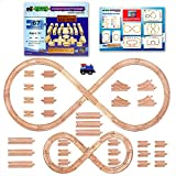 67 Piece Wooden Train Track Set with Train Car by Tiny Conductors - 100% Real Wood
