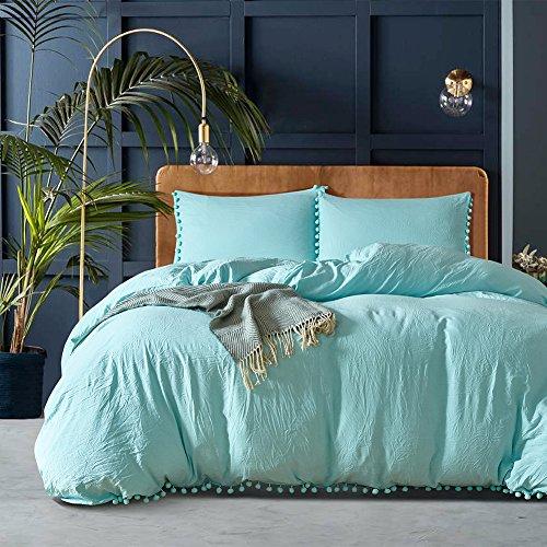 dushow blau natur gewaschen Baumwolle Bettbezug King, Bettbezug-Set Tröster Sets extrem strapazierfähig & pflegeleicht, blau, King Size King-size-teen Tröster Set