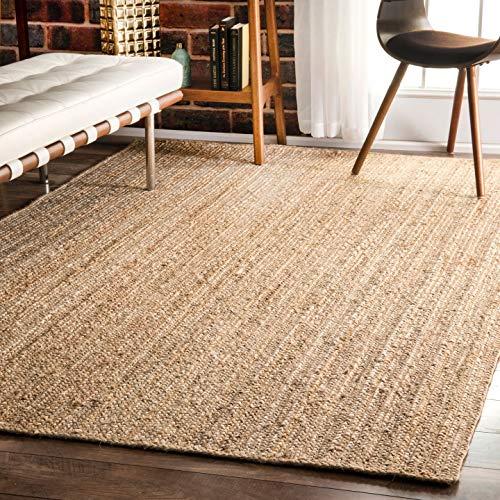 Icrafty Jute-Teppich, rechteckig, handgeflochten, 120 x 180 cm -