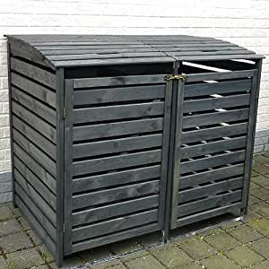 m lltonnenbox vario ii m llbox doppelbox f r 2 m lltonnen kiefer anthrazit garten. Black Bedroom Furniture Sets. Home Design Ideas