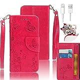 Vandot 3 in1 Ranura de la Tarjeta PU Cuero Funda para iPhone SE / 5 5S Wallet Case Libro Flip Cover + Tapón antipolvo + Cable de Datos USB -Exclusiva Mobile Phone Monedero Folio
