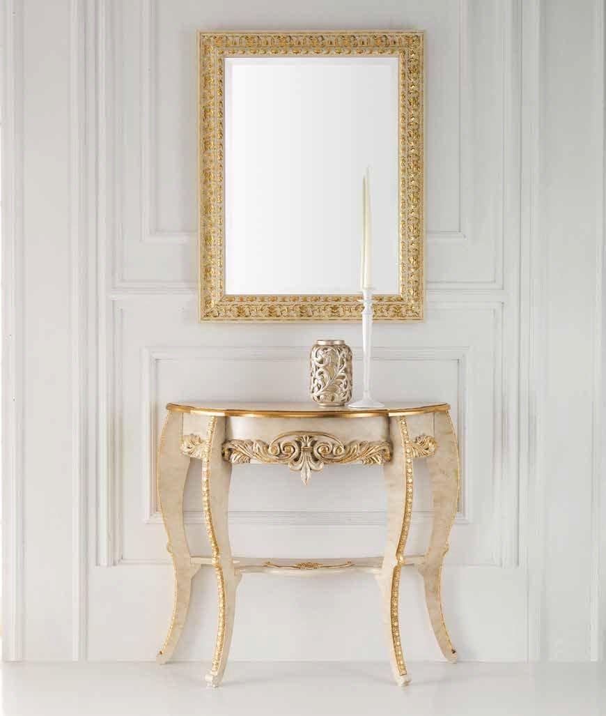 Consolle + Specchiera stile barocco a foglia oro o panna/oro da ...