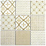 Mosaikfliese Keramik retro vintage beige weiß Küche Küchenfliese Wandverkleidung Thekenverkleidung WC Fliesenspiegel Mosaikwand Küchenrückwand