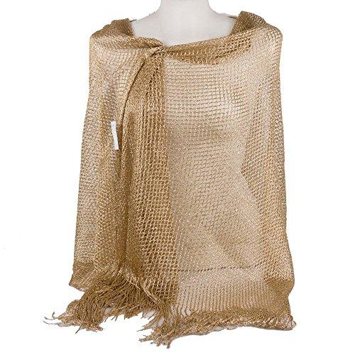 Emila stola cerimonia coprispalle elegante con frange a rete foulard scialle grande oro l190xh70