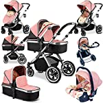 iVogue - Peach Luxury 3in1 Pram Stroller Travel System by iSafe (Complete with Carseat and RainCover)