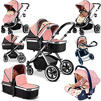 iVogue - Peach Luxury 3in1 Pram Stroller Travel System by iSafe (Complete with Carseat)