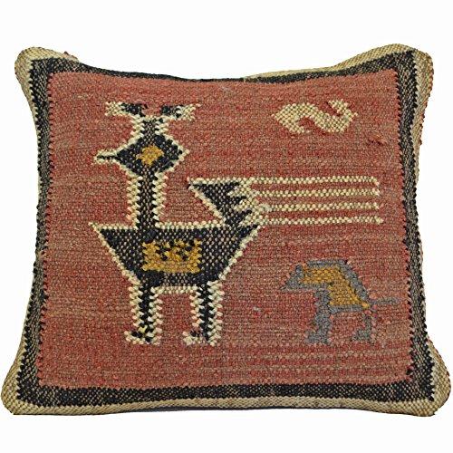 Bird Kelim Kissen 50cm Wolle Baumwolle Jute indische Persischen Marokkanische -