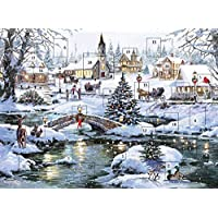Traditional Advent Calendar Christmas Snow Scene - Glitter Finish 24 Doors