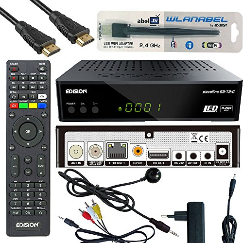 Edision Piccollino S2+T2/C Full HD Satelliten-Kabel-Receiver FTA HDTV DVB-S2/C/T2 (HDMI, AV, USB 2.0,Display,IR-Auge,CA,LAN) Deutsch vorpr.inkl.Wlanabel und HDMI Kabel -