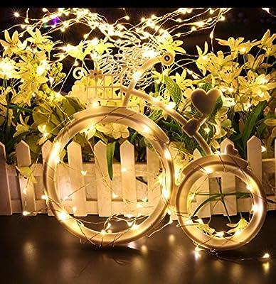 MIDWEC Batterie Betriebene Wasserfeste Lichter Girlande Silber Lichterkette Weihnachtsdekoration Innen und Außen von MIDWEC auf Du und dein Garten