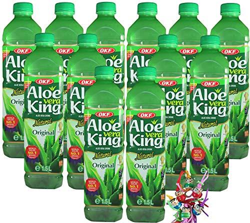 [ 12x 1,5 Literl ] OKF Aloe Vera King Getränk mit 30% Aloe/Natural / Aloe Vera Drink + ein kleines Glückspüppchen - Holzpüppchen