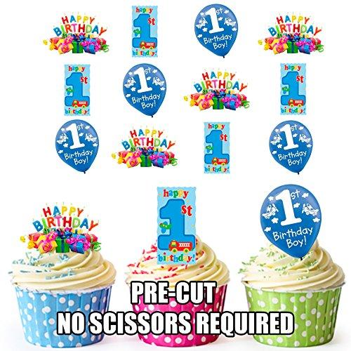 Vorgeschnittener 1. Geburtstag Junge - Essbare Cupcake Topper / Kuchendekorationen (12 Stück)