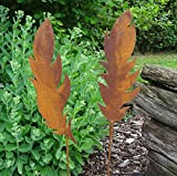 Gartenstecker Set Federn 2 x 75cm Metall Rost Gartendeko Edelrost