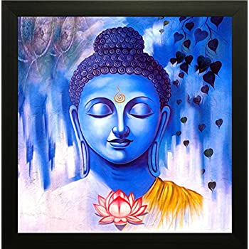 SAF Buddha Painting Exclusive Framed Wall Art Painting (Wood, 30 cm x 3 cm x 30 cm, SANF7259N)