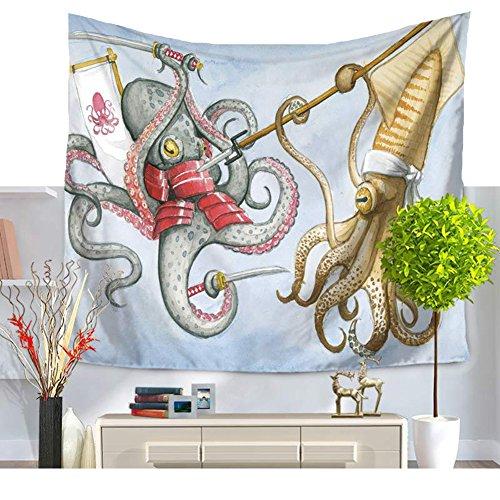 Cartoon Octopus Kämpfe Tapisserie bunte Wand Tapisserie Home Kunst Hippie Mandala Boho Strand Handtuch Werfen Wand - Strand Octopus Den Für Handtücher