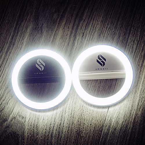 smaart® Selfie Ring Light for all Mobile Phones | 2017 Version | 36 LED Lamps for a Round Pool of Light Effect in the Pupils | Professional White Daylight Effect as Used by Stylists | 3 Different Brightness Levels for Perfect Selfies | Battery Operated | Selfie Light for iPhone 5 5C 6 6S 6Plus 7Plus, Samsung Galaxy S5 S6 S7, Huawai, Sony and Many More