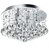 Jago Kristall Deckenleuchte A++ bis E, 6 x G9 max. 40 W | Kristall Lüster, Kronleuchter, Pendelleucte, Hängeleuchte | für Wohnzimmer, Schlafzimmer, Küchen, Esszimmer
