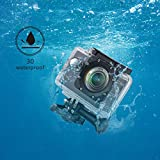 HAMSWAN F60 Action Camera Impermeabile - WiFi - 1080P Obbiettivo Grandangolare a 170 Gradi Schermo da Due Pollici Funzione Dashboard Cam con G-sensor per Loop Recording 32GB di Estensione per Chi pratica Surf Sci Paracadutismo Immersioni etc immagine