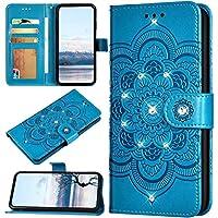 URFEDA Funda Compatible con Huawei Nova 6 Billetera Carcasa,3D Flor de Mandala Impreso Libro,Cartera,Ranura para Tarjeta,Soporte Plegable, Cierre Magnético Folio Flip Cover,Azul