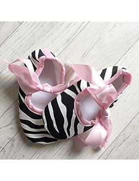 Bailarinas para bebé de 0 a 12 meses, diseño de cebra, color rosa, 3 meses, 6/6/9/0 meses, 3 meses, 9/12 meses