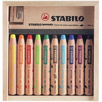 STABILO woody 3in1 - Coffret en bois de 10 crayons tout-terrain + taille-crayon