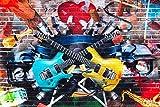 Baumwoll Jersey Panel Digitaldruck Mauer Gitarren Wall