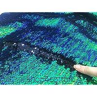5 mm Reversible tela de lentejuelas, lentejuelas de sirena material – iridiscente verde 140 cm