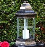 ♥ LED Grablaterne Luisa 30,0cm incl. LED Grabkerze Grablicht Grablampe Grabdekoration Grabschmuck Grableuchte Laterne Lampe Kerze Memories