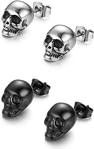 JewelryWe Orecchini da Uomo Skull Punk Rock Stile Hip Hop Orecchino in acciaio Inossidabile Forma Teschio Colore Argento Nero