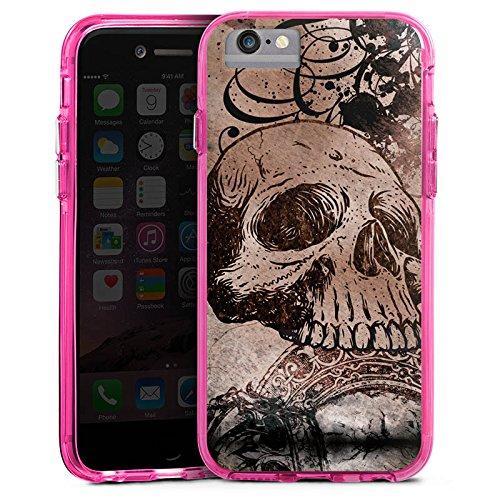 Apple iPhone 6s Bumper Hülle Bumper Case Glitzer Hülle Halloween Totenkopf Skull Bumper Case transparent pink