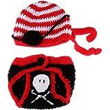 TOYANDONA Fotografía de bebé Prop Pirate Disfraz para Bebés Recién Nacido de Ganchillo Punto Disfraz de Pirate con Sombrero