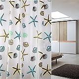KING DO WAY Duschvorhang Waterproof Badezimmer Mehltau Muscheln und Seesterne 180cm breit*220cm hoch