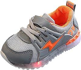Saingace Baby Toddler Little/Big Kids Boys Girls Mesh Led Light Mesh Sport Air Lace-up Anti-Slip Sneaker Running First Walking Shoes