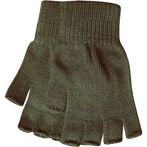 Herren Warm Thermo Strick Fingerlose Winterhandschuhe - Khakigrün (Stretch-handschuhe Weiche)