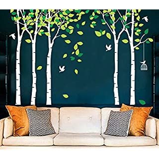 MAFENT Large 5 Birch Tree Wall Sticker Birds Wall Art Mural for Nursery Kid Bedroom Living Room Decor (White)