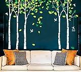 MAFENT Groß 5Birke Baum Wandtattoo Vögel Art Wand Wandbild für Kinderzimmer Kid Schlafzimmer Wohnzimmer Decor, weiß, Large