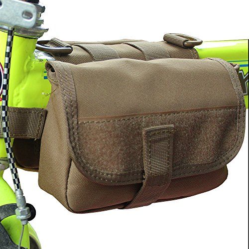 xhorizon® Hochdicht Wasserfest Militärtuch Fahrrad Radfahren RahmenPannier Seitentasche Front Tube Bag Double Side Bag Tactical Camouflage Style Khaki